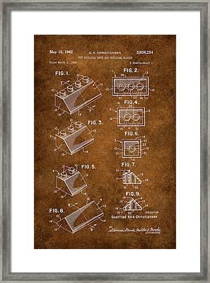 Vintage Lego Patent Grunge Framed Print by Brooke Roby