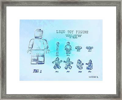 Vintage Lego Toy Figure Patent - Blue Abstract Framed Print by Scott D Van Osdol
