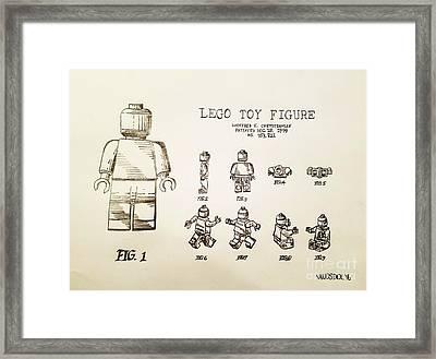 Vintage Lego Toy Figure Patent - Graphite Pencil Sketch Framed Print