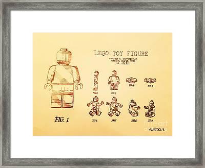 Vintage Lego Toy Figure Patent - Peach Background Framed Print by Scott D Van Osdol