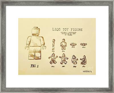 Vintage Lego Toy Figure Patent Framed Print by Scott D Van Osdol
