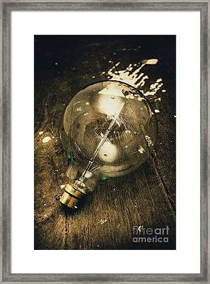 Vintage Light Bulb On Wooden Table Framed Print by Jorgo Photography - Wall Art Gallery