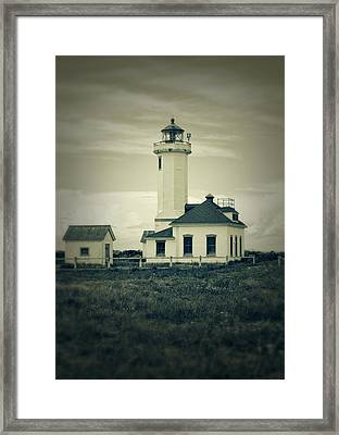 Vintage Lighthouse Monochrome Framed Print by Dan Sproul
