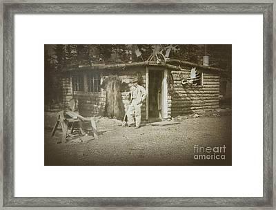 Vintage Log Cabin Framed Print by Linda Phelps