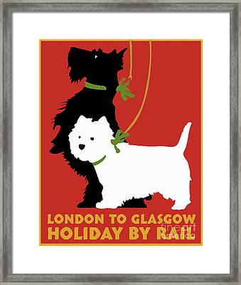 Vintage London To Glasgow By Rail Terrier Dogs Travel Poster Framed Print by Tina Lavoie