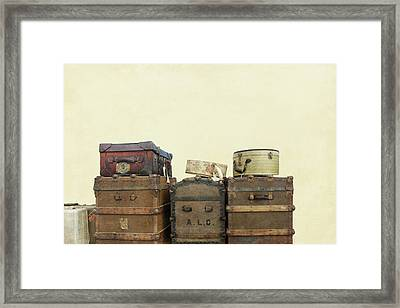 Steamer Trunks And Vintage Luggage Framed Print