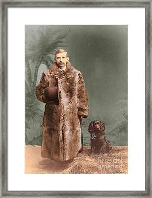 Vintage Man And Spaniel Dog Framed Print by Lyric Lucas