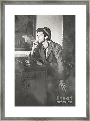 Vintage Man In Hat Smoking Cigarette In Jazz Club Framed Print by Jorgo Photography - Wall Art Gallery