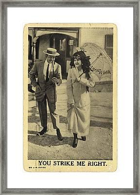 Vintage Man Wearing Boater Hat Framed Print by Gillham Studios