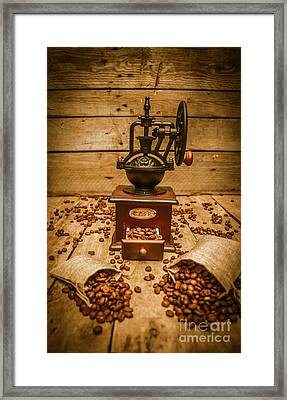 Vintage Manual Grinder And Coffee Beans Framed Print