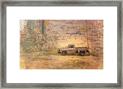 Framed Print featuring the photograph Vintage Map And Truck by Mary Hone