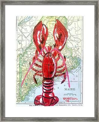 Vintage Map Maine Red Lobster Framed Print