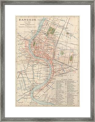 Vintage Map Of Bangkok, Thailand From 1920 Framed Print