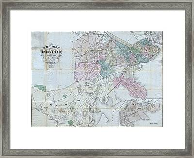 Vintage Map Of Boston Massachusetts - 1870 Framed Print by CartographyAssociates