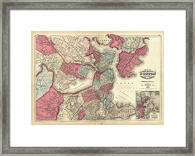 Vintage Map Of Boston Massachusetts - 1871 Framed Print by CartographyAssociates