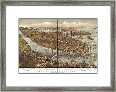 Vintage Map Of Brooklyn And New York Framed Print