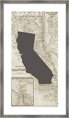 Vintage Map Of California Phone Case Framed Print by Edward Fielding