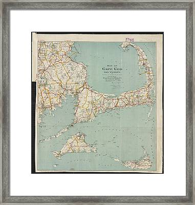 Vintage Map Of Cape Cod - 1917 Framed Print by CartographyAssociates