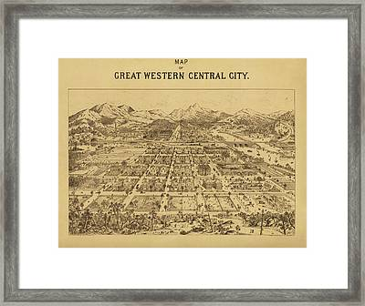 Vintage Map Of Central City Colorado Framed Print by Mountain Dreams