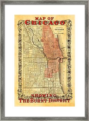 Vintage Map Of Chicago Fire Framed Print