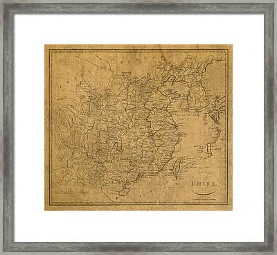 Vintage Map Of China 1799 Framed Print