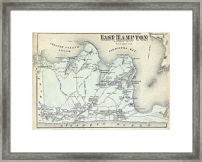 Vintage Map Of East Hampton New York  1873 Drawing by