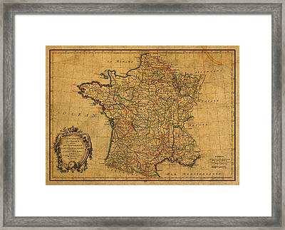Vintage Map Of France Old Schematic Circa 1771 On Worn Distressed Parchment Framed Print