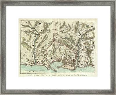 Vintage Map Of Genoa Italy - 1800 Framed Print by CartographyAssociates
