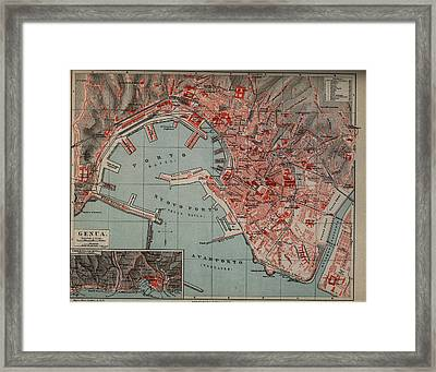 Vintage Map Of Genoa Italy - 1894 Framed Print by CartographyAssociates