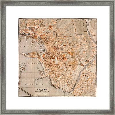 Vintage Map Of Genoa Italy - 1906 Framed Print by CartographyAssociates