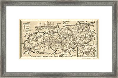 Vintage Map Of Great Smoky Mountains National Park From 1941 Framed Print by Blue Monocle