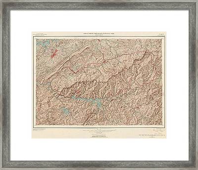 Vintage Map Of Great Smoky Mountains National Park - Usgs Topographic Map - 1949 Framed Print by Blue Monocle