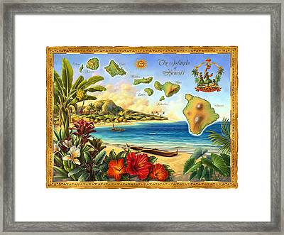 Vintage Map Of Hawaii Framed Print by Anne Wertheim