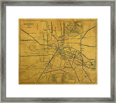 Vintage Map Of Houston Texas City Schematic On Worn Old Parchment  Framed Print by Design Turnpike
