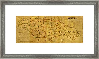 Vintage Map Of Jamaica From 1882 On Worn Parchment Framed Print