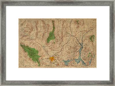 Vintage Map Of Las Vegas Nevada 1969 Aerial View Topography On Distressed Worn Canvas Framed Print