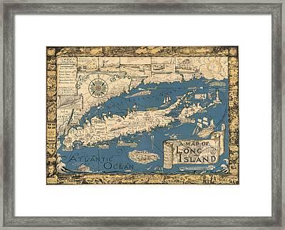 Vintage Map Of Long Island Framed Print by James Kirkikis