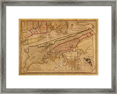 Vintage Map Of Manhattan Island 1821 Antique On Worn Canvas  Framed Print by Design Turnpike
