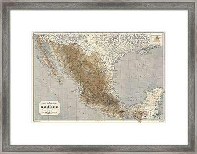 Vintage Map Of Mexico - 1911 - National Geographic Framed Print