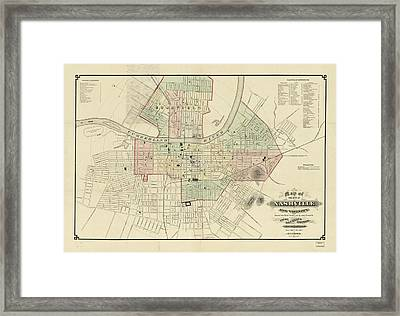 Vintage Map Of Nashville Tennessee - 1877 Framed Print by CartographyAssociates