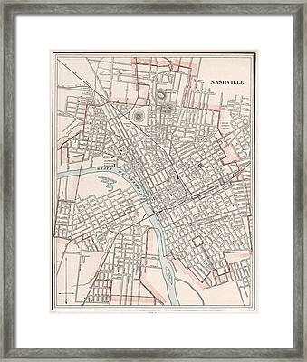 Vintage Map Of Nashville Tennessee - 1901 Framed Print by CartographyAssociates