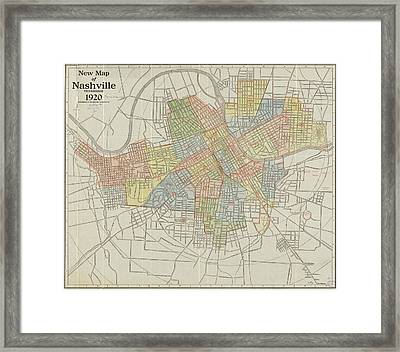 Vintage Map Of Nashville Tennessee - 1920 Framed Print by CartographyAssociates