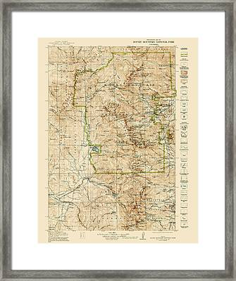 Vintage Map Of Rocky Mountain National Park - Colorado - 1919/1940 Framed Print by Blue Monocle