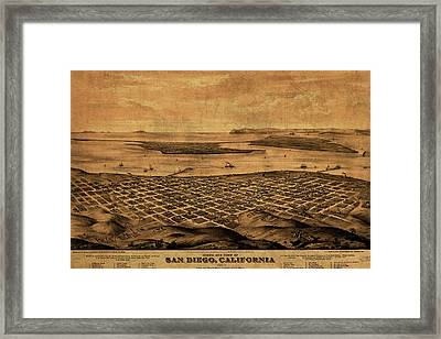Vintage Map Of San Diego California Street Map Birds Eye View Schematic Framed Print by Design Turnpike