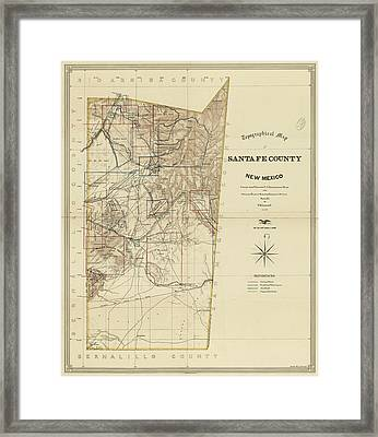 Vintage Map Of Santa Fe County Nm - 1883 Framed Print
