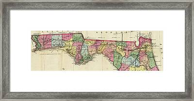 Vintage Map Of The Florida Panhandle - 1870 Framed Print by CartographyAssociates