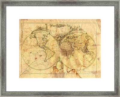 Vintage Map Of The World Framed Print by Michal Boubin
