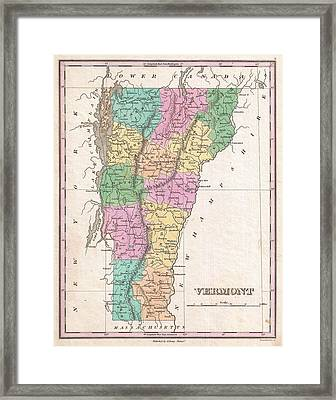 Vintage Map Of Vermont Framed Print by CartographyAssociates