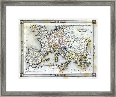 Vintage Map Of Western Europe Framed Print