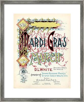 Vintage Mardi Gras March Poster Framed Print by Jon Neidert